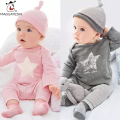Newborn Baby Girls Clothing Set 3pc Cotton Pattern Long Sleeve T-Shirt Pants Hat Baby Boy Costume Outfits Baby Girls Clothes