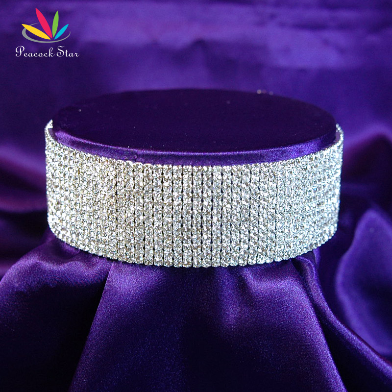 Peacock Star Pageant Wedding Party Prom Choker Necklace Stretch 12 Row Rhinestone w/ Elastic Cord CC025 rhinestone alloy star necklace
