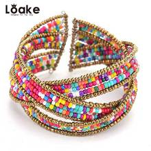 Loake Bohemia Colorful Beads Bracelets&Bangles Gold Color Alloy Trendy Bijou Jewelry For Wedding Daily Accessories