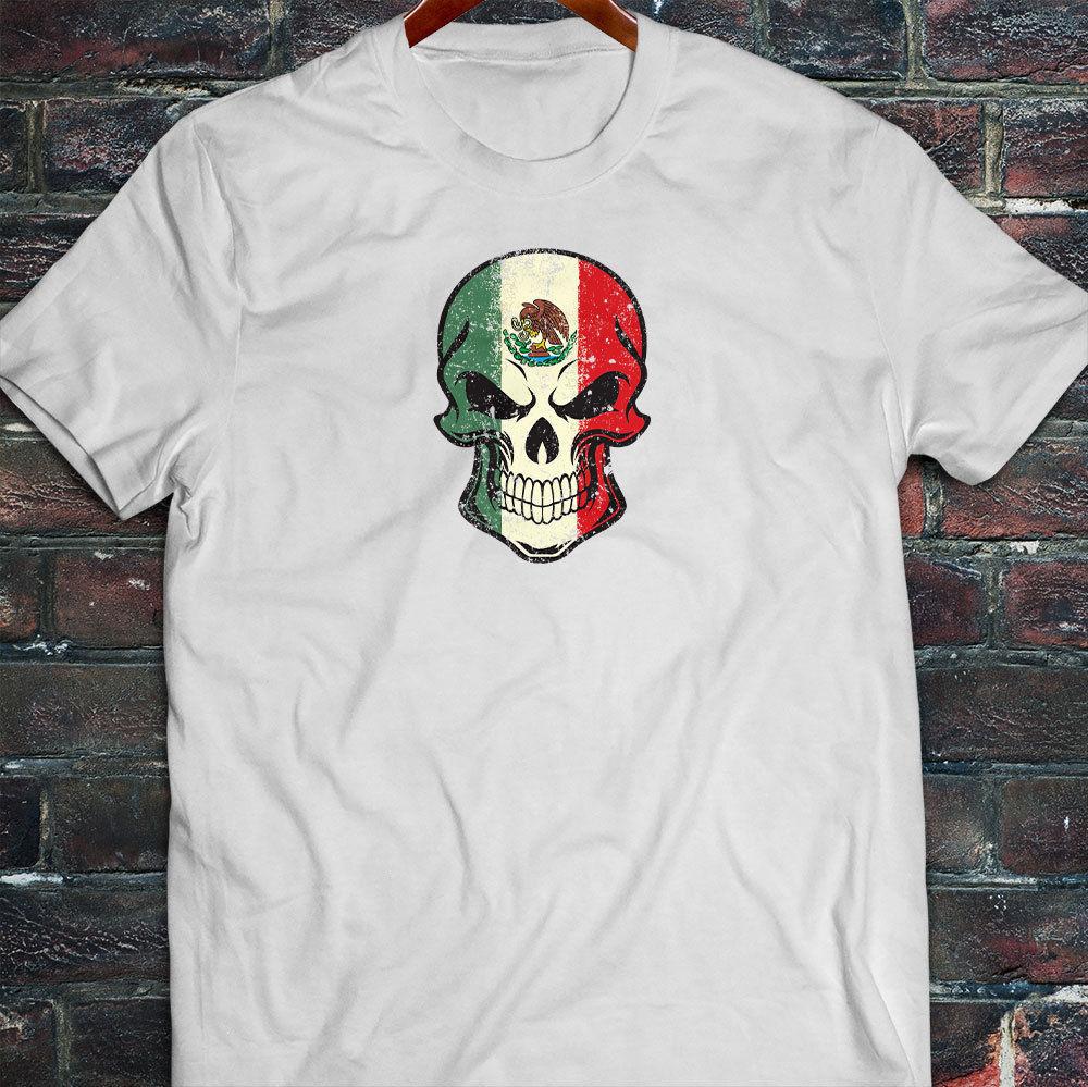 d22155ade Camiseta blanca para hombre 2019 estilo verano moda bandera mexicana  calavera VIVA México orgullo ...