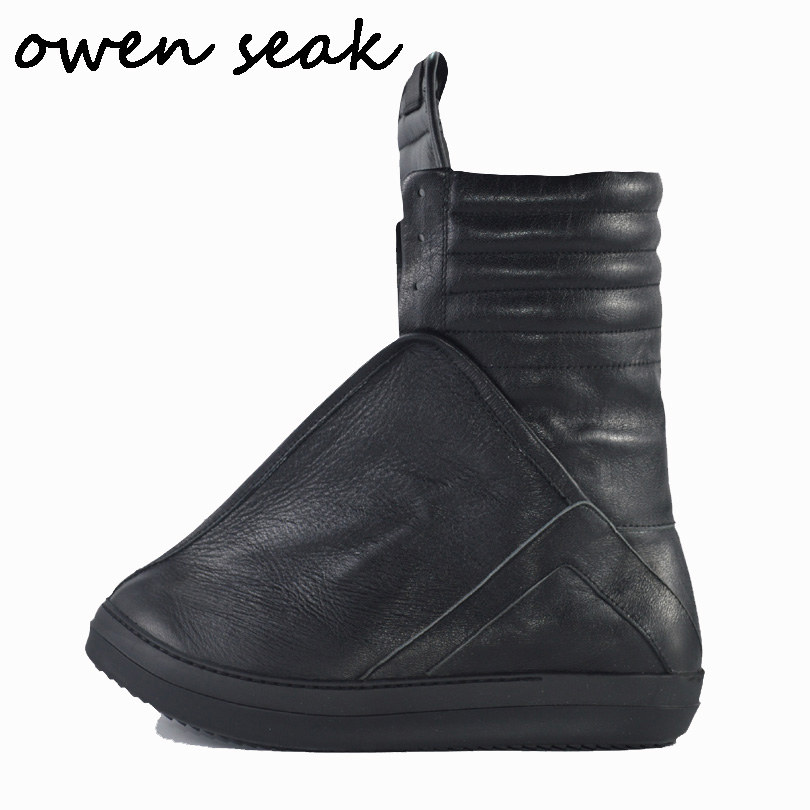 Owen Seak Men Shoes High TOP Ankle Luxury Trainers Sneaker Genuine Leather Men Boots Casual Brand