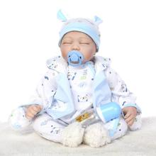 22″ Sleeping Silicone Reborn Baby Boy Doll Play House Doll Toy Blue Clothes Lifelike Reborn Baby Doll as Birthday Gifts Present