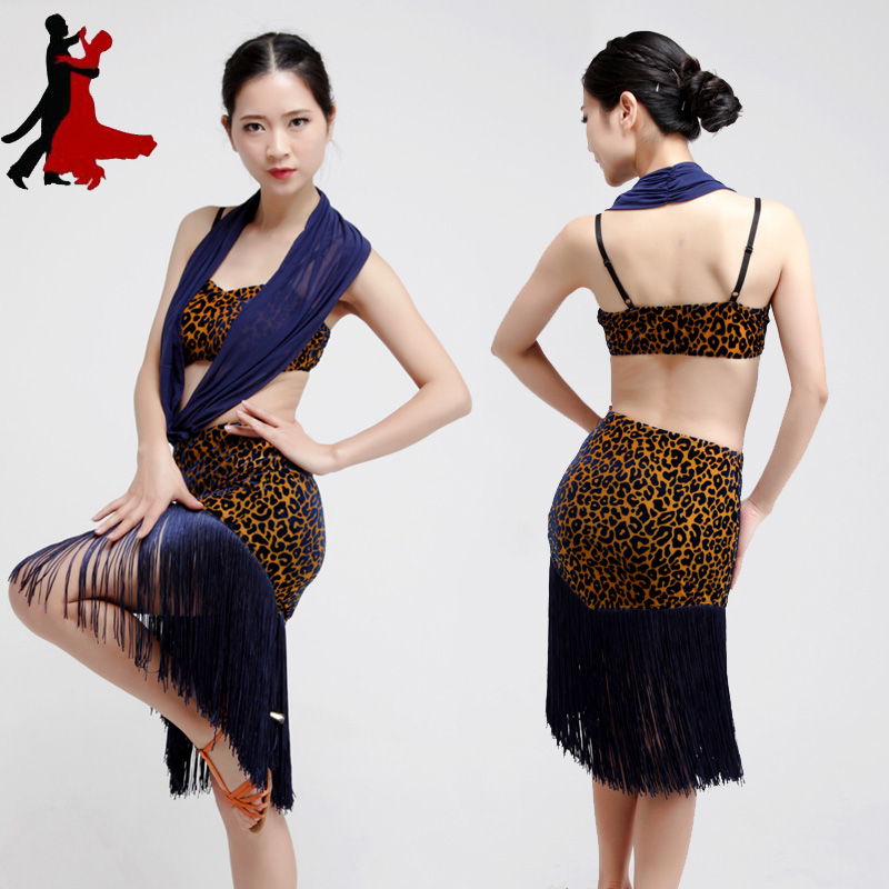 sexy leopard fringe Latin dance practice dress performance clothing women freeshipping hot sale