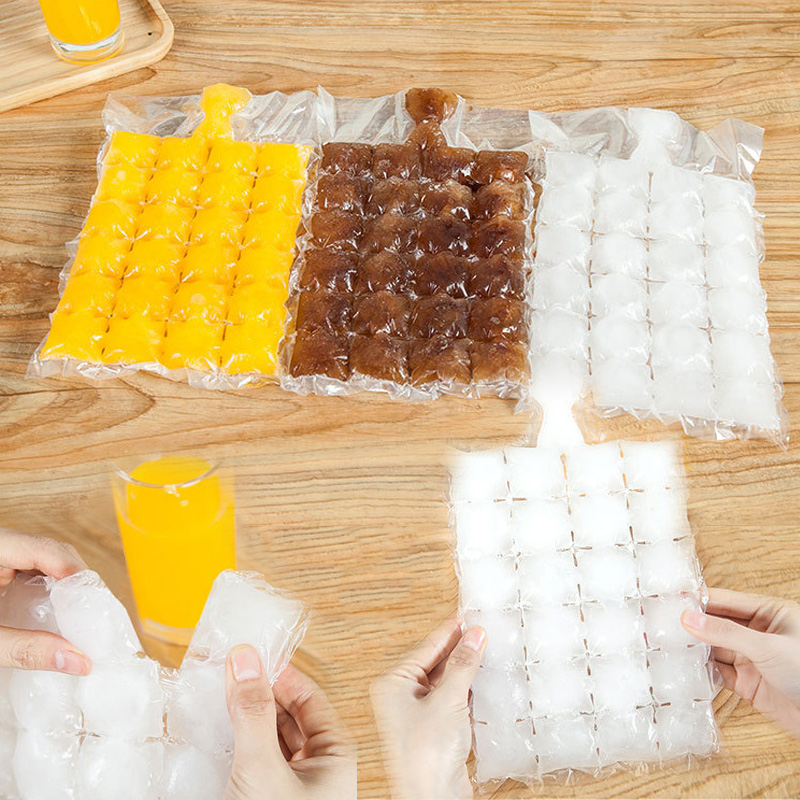 20PCsSet Portable Cubes Ice Maker Bag with Funnel Disposable Self Sealing Ice Cube Bag Mold Plastic Fridge Freezer Mold