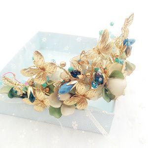 Image 4 - Himstory Vintage Blu Della Farfalla Del Fiore Tiara Corona Barocco Queen Festa di Nozze Accessori per Capelli