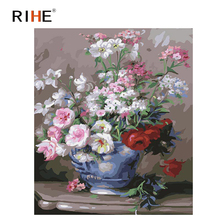 RIHE Rose Bloom Diy Painting By Number Oil On Canvas Hand Painted Flower Vase Cuadros Decoracion Acrylic Paint Home Art