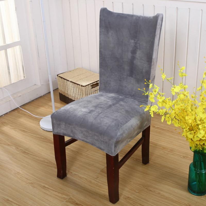new stretch fox pile fabric dining room wedding kitchen home short chair seat coverschina - Fabric Dining Chairs
