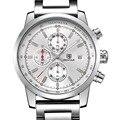 Venda quente Dos Homens Relógios Top Marca de Luxo Data Dia Inoxidável Luminous Hour Relógio de aço Masculino Relógio De Quartzo Casuais Homens Esporte relógio de pulso