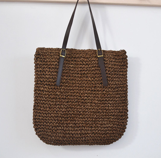 40CM  straw bales exports Europe and the United States customs Spain female beach bag brand female bag belt buckle bag A2333 europe and the united states new handsome british wind pointed thick boots snake belt buckle especially exquisite single boot