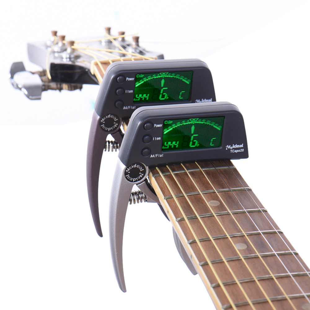 Meideal Guitar Capo Professional Acoustic Electric Guitar Capo Tuner 3 Tuning mods Guitar Bass and Chromatic Support Wholesale