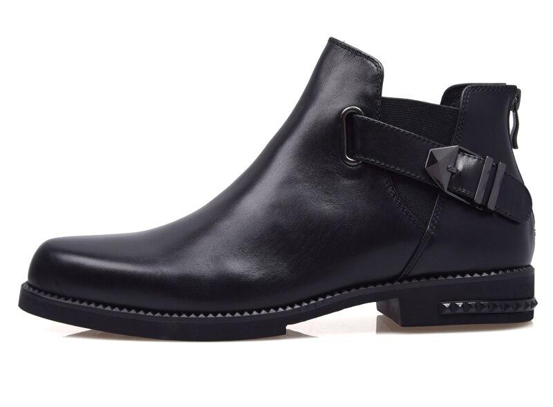 AMSHCA/Мужская Повседневная зимняя обувь из флока; теплые плюшевые зимние ботинки для мужчин; мужские ботильоны на плоской подошве со шнуровко... - 3