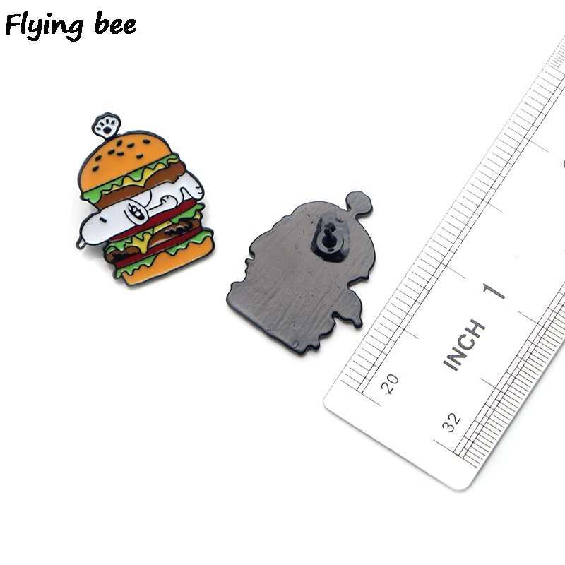 Flyingbee Kartun Anjing Seni Enamel Pin Tas Ransel Lencana Kepribadian Bros Kemeja Kerah Pin X0225