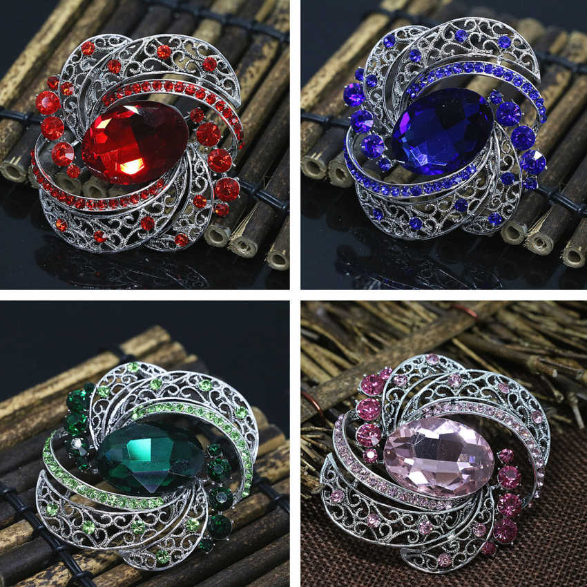 Hot sale vintage oval crystal berlian imitasi mode bros pins perak-warna elegan pakaian aksesoris perhiasan 59*65mm B1437