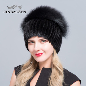 Image 2 - JINBAOSEN Womens winter mink fur hat real silver fox fur warm ski cap natural fur knit fur cap brand fashion Russian style