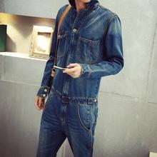 2016 Горячая Продажа Высокого Качества мужская полный рукавом джинсовые комбинезоны Случайные длинные длина джинсы Комбинезоны MB16279