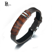 Retro Rosewood Genuine Leather Stainless Steel Inlay Tag Belt Buckle Clasp Adjustable Bracelet