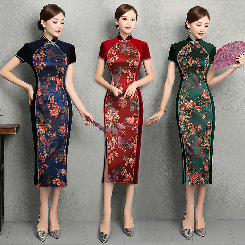 Bleu Taille Robes Traditionnel rouge marine Plus Printemps 4xl À Femmes Chinois Cheongsam Vert 2018 Robe Sexy Long Style Mince S Partie Qipao Velours 6SaRBnwq