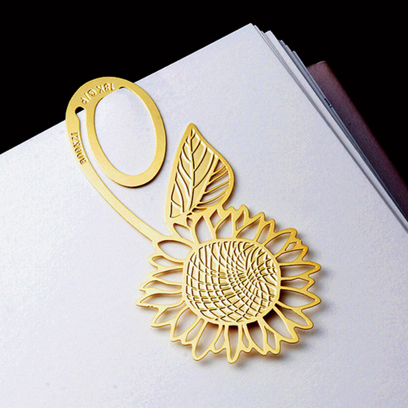 DHL Free Shipping 100 Pieces Metal Gold Sunflower Bookmarks Wedding Favor Gift Birthday Party Favors