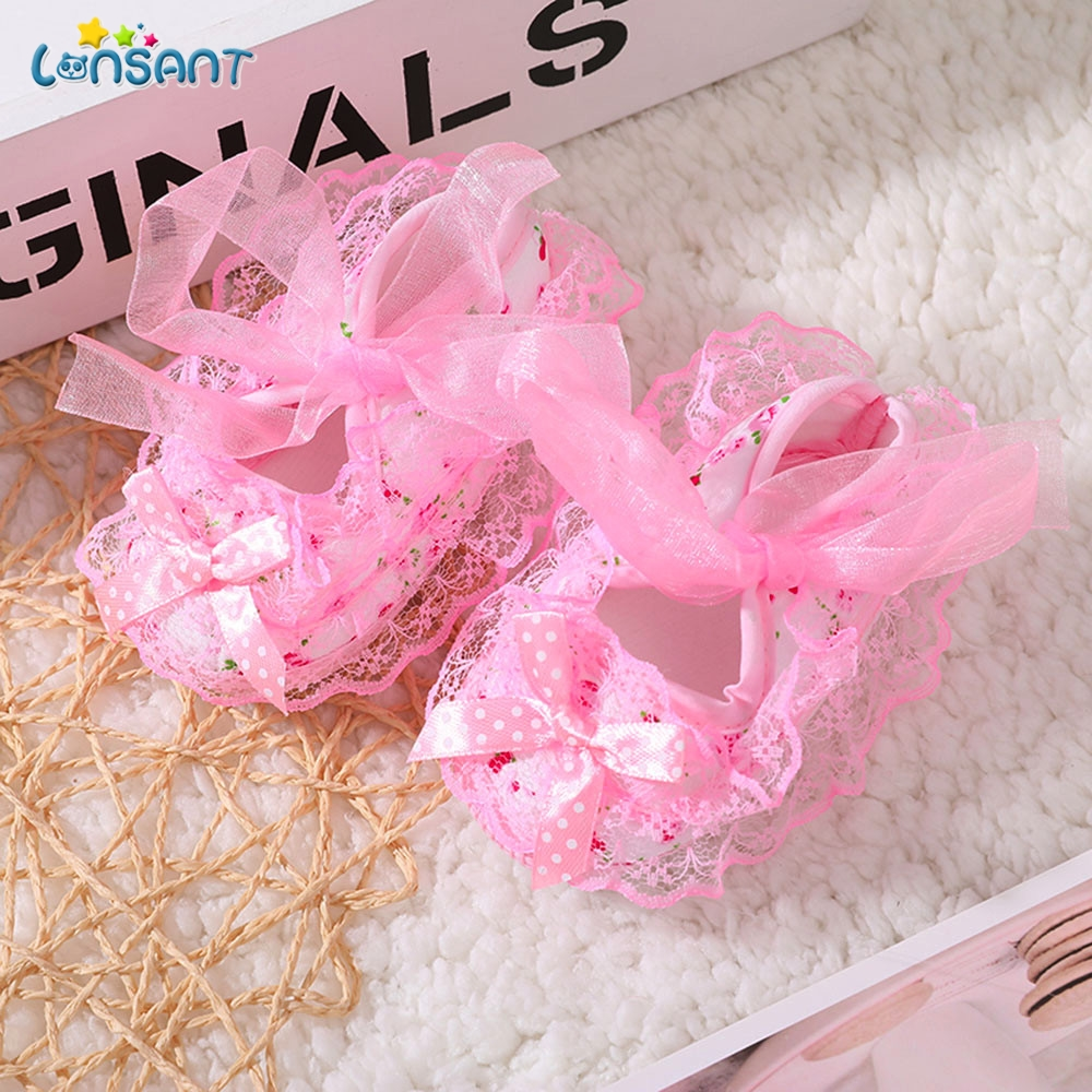Infant Baby Girl Soft Shoes Soled Lace Floral Print Bowknot Footwear Crib Shoes
