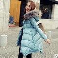 Женский зимняя куртка тонкий новый женский пуховик и длинные участки свободного покроя воротник широкий пальто
