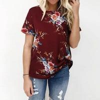 Plus Size 2018 Women ZANZEA Summer O Neck Short Sleeve Loose Boho Floral Print Blouse Party