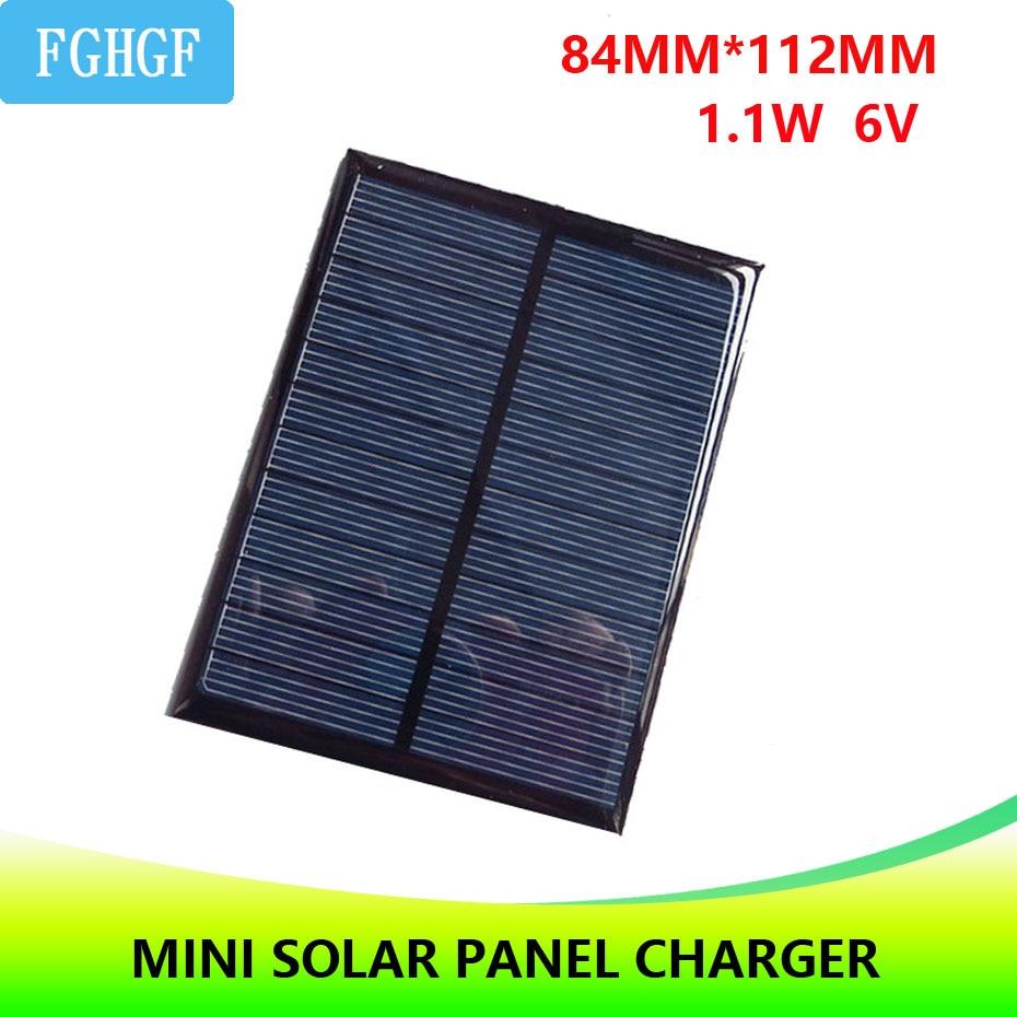 6V 1.1W Epoxy Cells Solar Panel Mini DIY Solar Charger ...