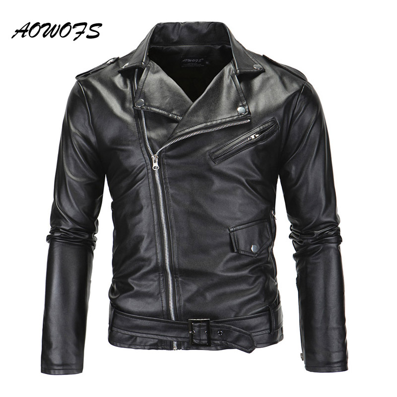 3ec72b7ded0 AOWOFS Mens Leather Jacket Slim Fit Motorcycle Jackets Men Zipper  Lightweight Punk Leather Jackets Men Faux Leather Coats White-in Faux Leather  Coats from ...