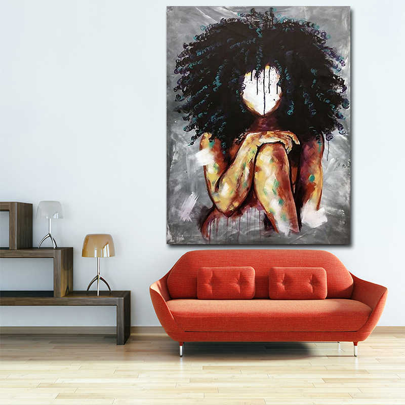 Oil Picture Wall Art Painting Canvas Picture Black Girl Magic Paintings Posters Painting For Living Room Decor Home No Frame