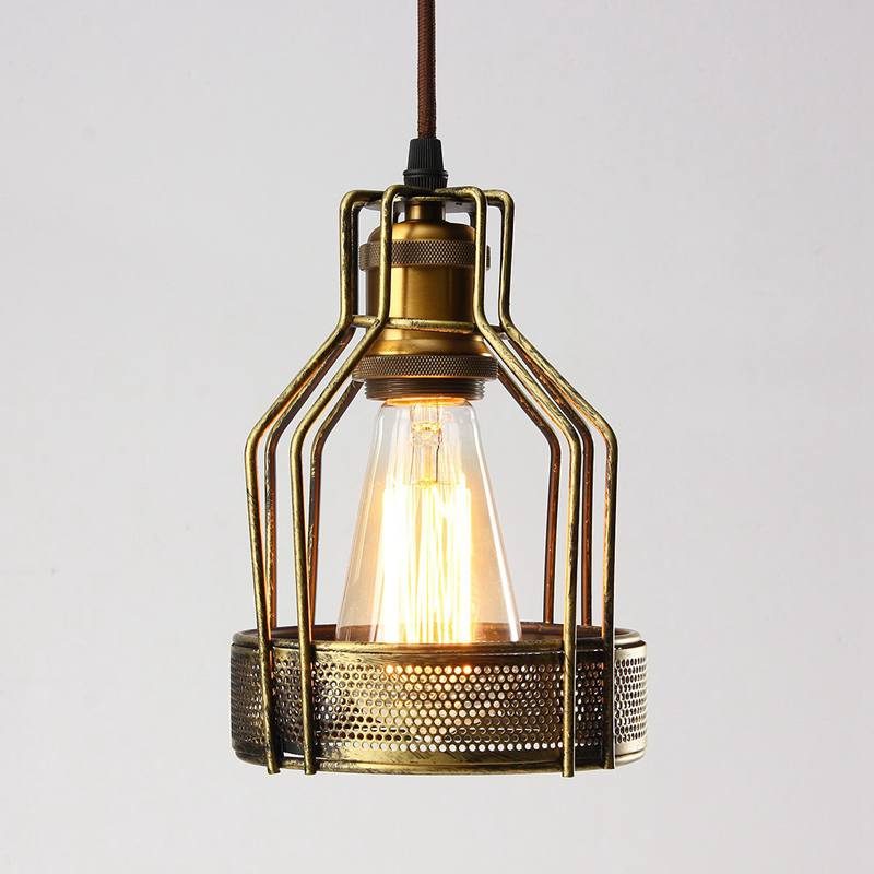 Edison Iron Retro Vintage Ceiling Hanging Light Fitting Lamp Bulb Guard Wire Cage Bar Cafe Decor Lampshade Lamp Base 140x200mm diy antique brass retro guard wire cafe loft droplight fixture iron cage pendant light hanging fitting metal frame lamp holder