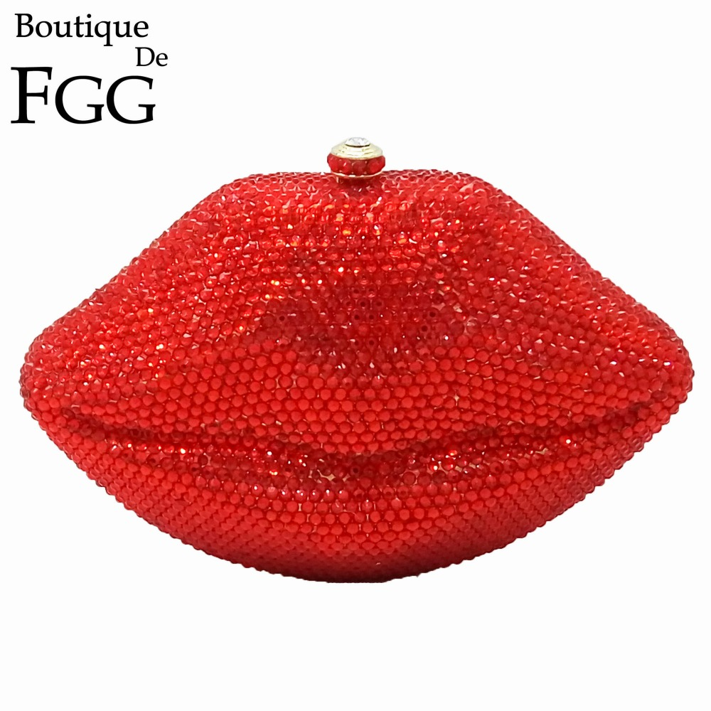 ФОТО Dazzling Diamond Rhinestones Women Socialite Red Ruby Lips Crystal Evening Clutches Purse Golden Metal Clutch Minaudiere Handbag