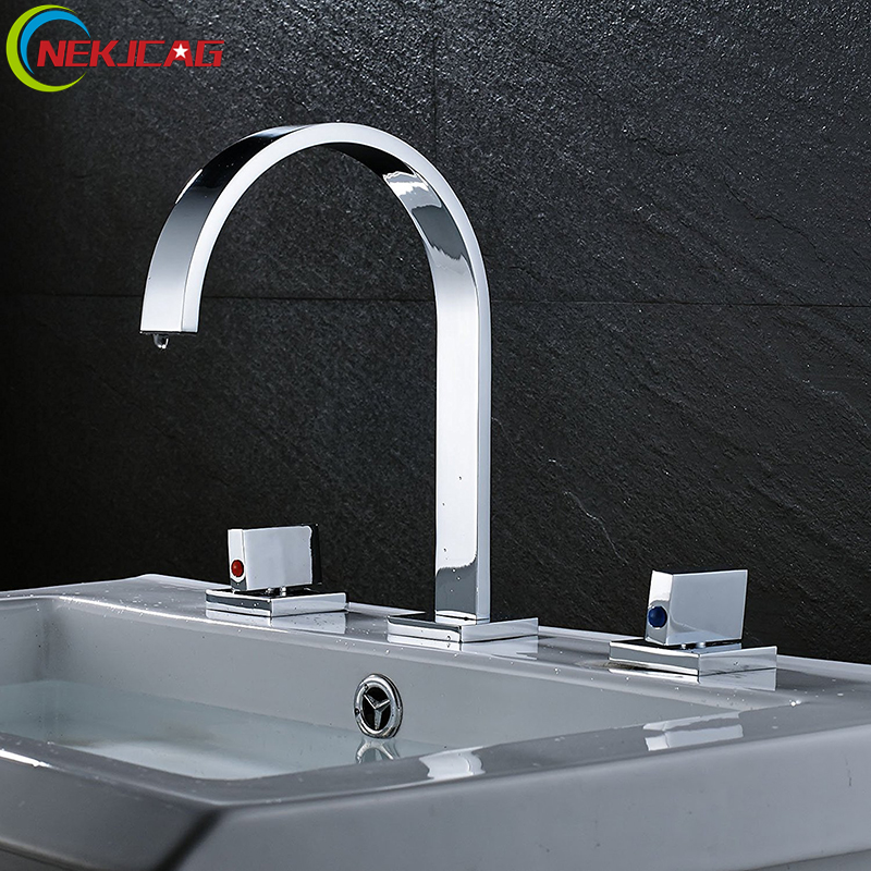Dual Handle Basin Faucet Chrome Fission Basin Faucet Dual Handle Three Holes Widespread Faucet цена