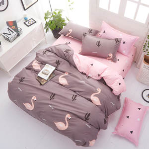 Pillowcase Beding-Cover Flamingo Bed-Sheet Queen Pink Full-King Tiwn 4PCS Brief Polyester