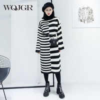 WQJGR Winter Black And White Knitting Wool Long Sleeve Dress Women Thickness Interval Stripe High Lead
