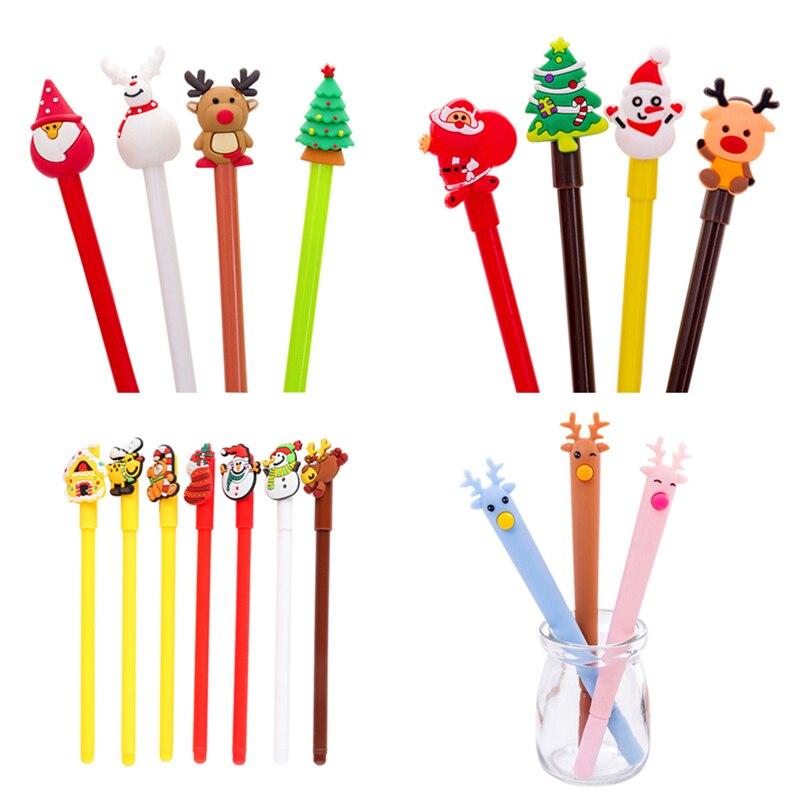 Christmas Moose Pen 0.5mm Gel Pen New Strange Santa Claus Cute Pens Stationery Gift Kawaii 23 Colors Office School  Supplies
