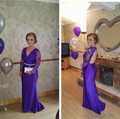 New Arrival !! Fashion Mother Of the Bride Dresses Appliques purple Full Sleeves Formal Wedding Party Dresses
