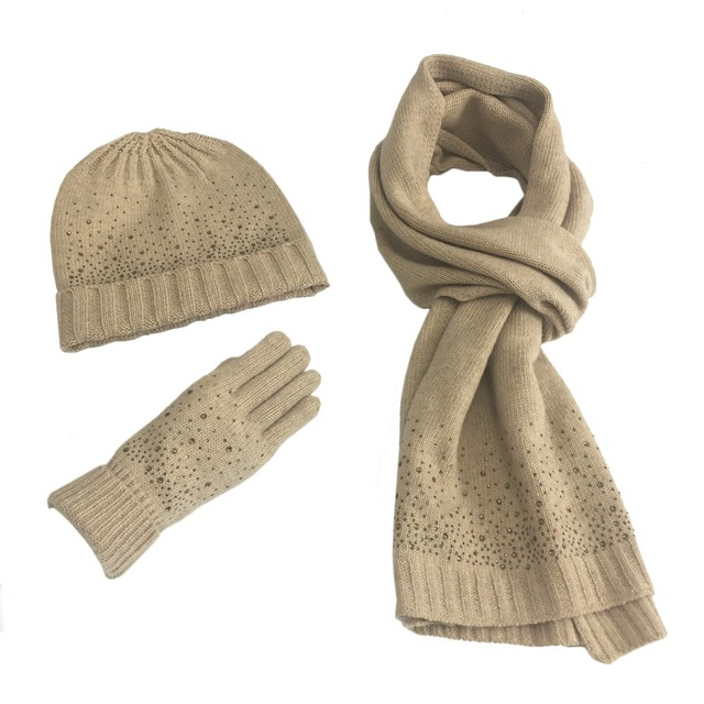65bd118bfe5 Solid woman winter hat and gloves sets cotton fashion women hat scarf  gloves set solid hat