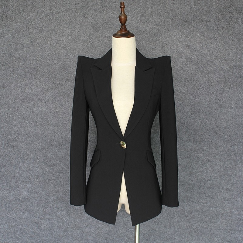 Blanc Qualité Combinaison De Travail Costume white Nouveau Ol Manteaux Supérieure Col Fit Bureau Black Unique Femmes Slim Blazer Veste Bouton 2019 Entaillé AAIwf