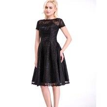 A-linie U-ausschnitt Kurzarm Knielangen Schwarzer Spitze Kurze Ballkleider Vestido De Festa Frauen Formale Kleider