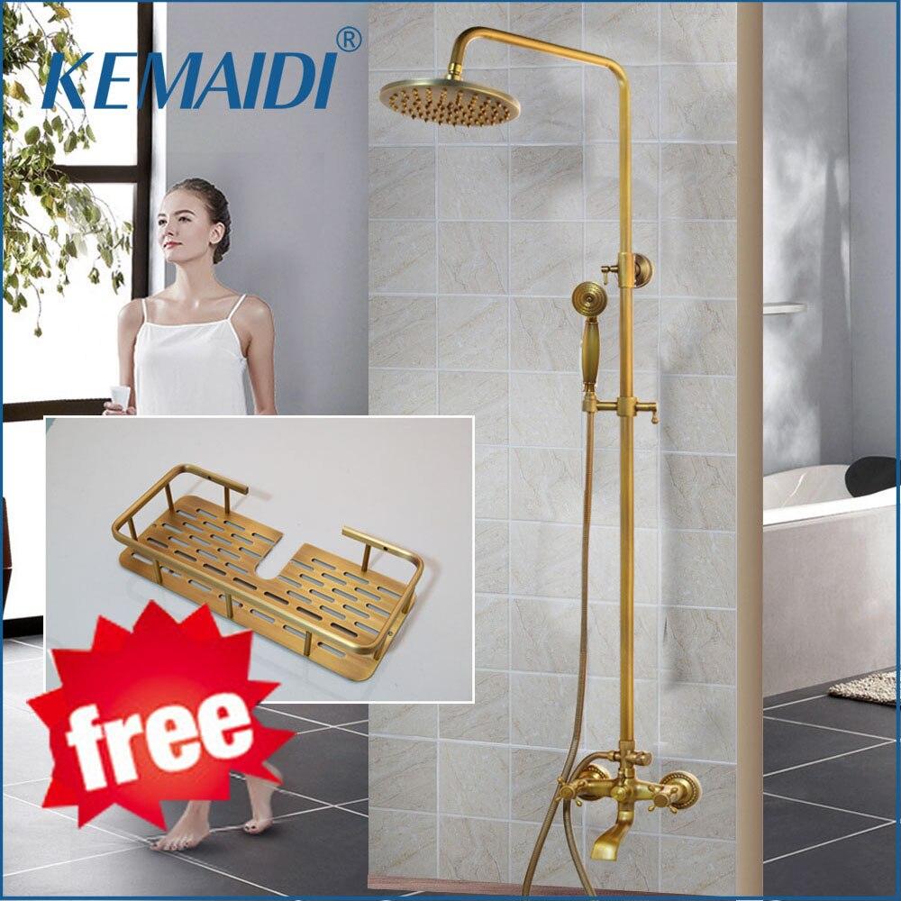 KEMAIDI Antique Brass Shower Faucets Set 8'' Rainfall Shower Head Commodity Shelf Handle Mixer Tap Swivel Tub Spout Bath Shower