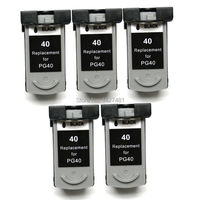 5pk Ink Cartridges PG 40 PG 40 PG40 For Canon PIXMA IP1600 IP1700 IP1800 IP2600 MP145