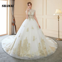 SHAMAI Gorgeous Embroidery Wedding Dresses Cloak Appliques High Neck Bridal Gowns Royal Train Illusion Back Vestidos De Noiva
