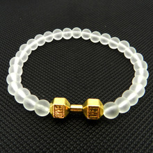 2016 New Arrival Men's Energy Jewelry Made by 6mm frosted Glass Beads & Alloy Fitness Dumbbell Bracelets
