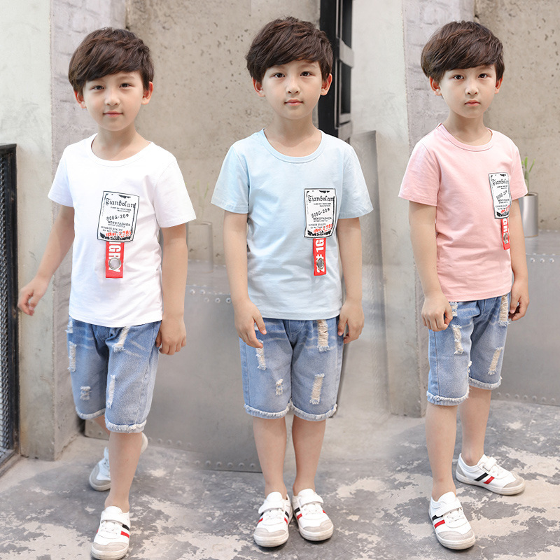 New Pattern A Korean Version Of Summer Catamite Pocket Weave Bring Suit Summer Cowboy Half Pants Garment Two Pieces Kids Sets hevxm new korean version of the thick bottom dragged smiling face half a pack of muffin slope with a woman home bath slippers