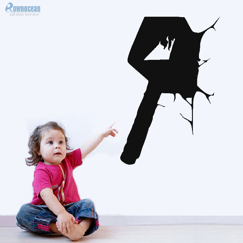 ROWNOCEAN Fashion Wall Sticker Bedroom Decor original Movie Thor Hammer Hit the wall 3D Vinyl Home Decor Childrens Room D543
