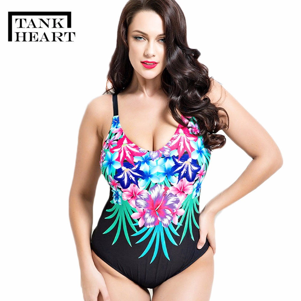 Tank Heart Sexy Floral Plus Size One Piece Female Swimwear Women Swimsuit Bathing Suits Swimming Large Sizes Women Surf Bathers swimwear women one piece swimsuit long sleeve plus size sexy black mesh patchwork bodysuit bathing suits cut out swimming suits