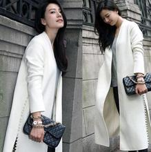2016 newest fashion start with long white wool coat side slit nail bead cashmere wool jacket