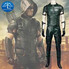 MANLUYUNXIAO Men Green Arrow Cosplay Costume Oliver Queen Green Arrow Costume Leather Battle Suit Christmas Costumes For Men