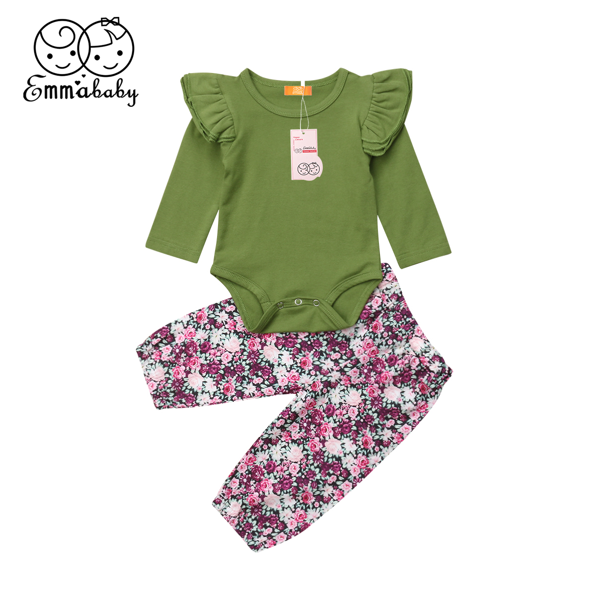 US Stock Newborn Baby Girls Floral Outfits Romper Bodysuit Leggings Clothes 0-3T