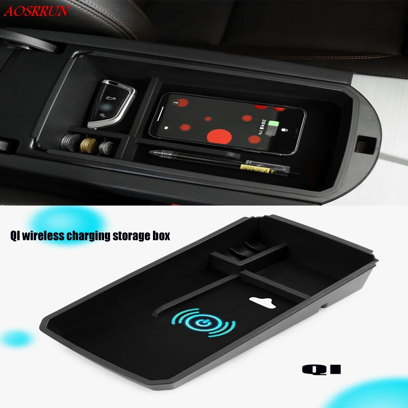 QI wireless charging box For <font><b>bmw</b></font> <font><b>x3</b></font> f25 2015 2016 <font><b>2017</b></font> Central Storage Pallet Armrest Container Box Cover Kit car <font><b>Accessories</b></font> image