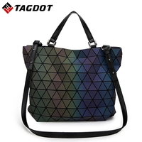 Famous Brands Women BaoBao Bag Geometry Sequins Mirror Saser Plain Folding Bags Luminous Handbags PU Casual